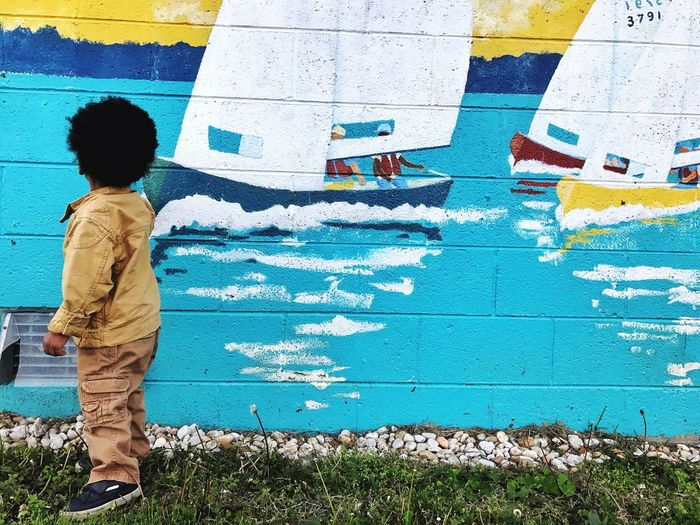 Standing One Person Childhood Outdoors Boys Full Length Day Boats⛵️ Mural Art Real People