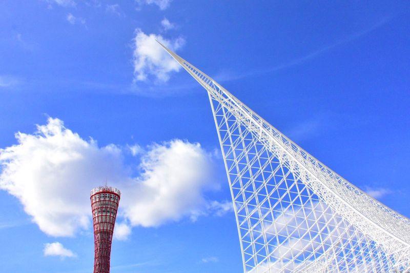 明けましておめでとうございます!本年もどうぞよろしくお願い致します♫ 今年は神戸で年越しを迎えました😊 Kobe カワサキワールド メリケンパーク ポートタワー 神戸 Low Angle View Tall - High Architecture Tower Sky Built Structure Blue Day