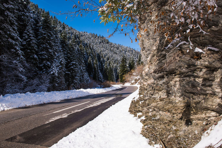Snow covered road by trees against clear sky