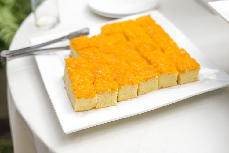 Close-up of sweet food in plate on table
