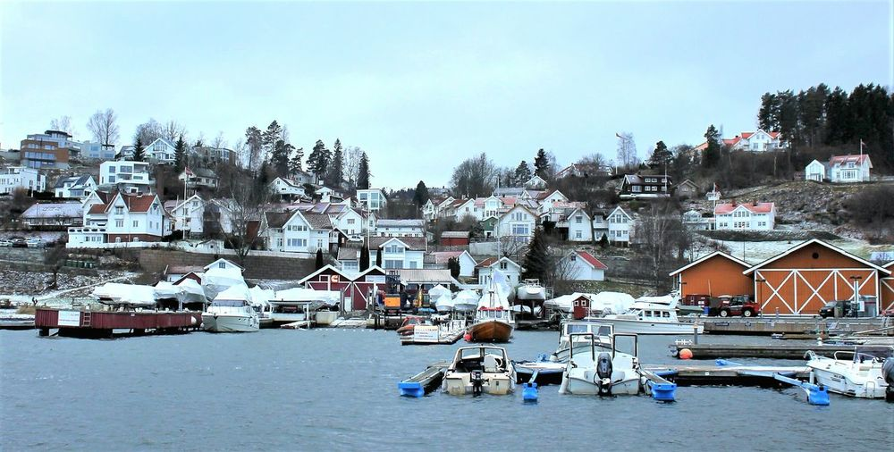 Norway Village Winter Scenics Landscape EyeEm Gallery Oslofjord EyeEm Nature Lover Water_collection Snowscape Travel Destinations Cold Temperature Sky Snow Tranquility Tree No People Outdoors Day Architecture Water Nature Premium Collection Premium Shades Of Winter