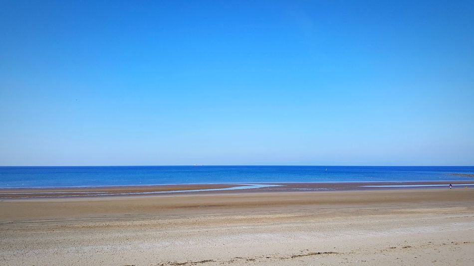 Ship on calm sea Beach Sea Sand Horizon Over Water Water Scenics Nature Beauty In Nature Tranquility Tranquil Scene Shore Blue Copy Space Clear Sky No People Day Outdoors Wave Sky
