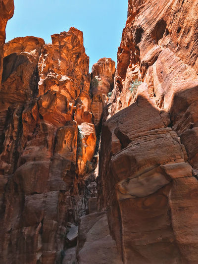 Low angle view of rock formations in petra