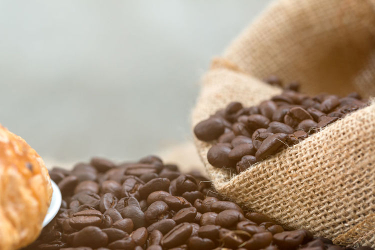 Close-Up Of Coffee Beans In Sack