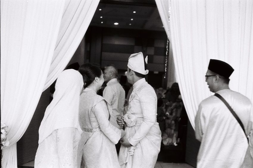 power of two Rangefinder Film Marriage  Ceremony Asian  Malaysia B&w Wedding Photography Wedding Dress Couple Blackandwhite Two People Candid Men