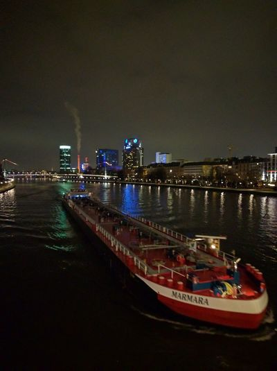 Night River view. Architecture Night Nautical Vessel City Illuminated Transportation No People Water Travel Destinations Cityscape Outdoors