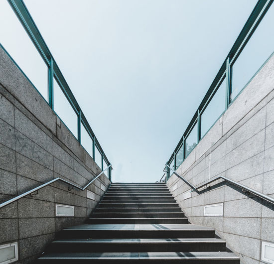 Low Angle View Of Stairs Against Clear Sky
