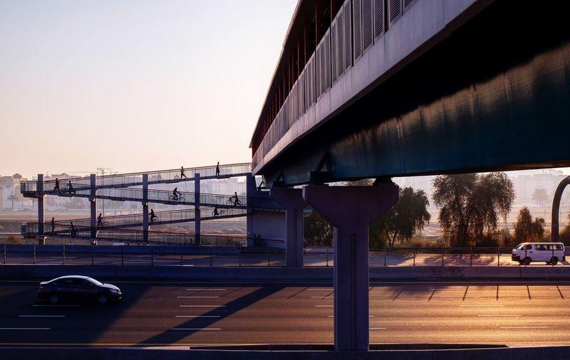 Sky Transportation Architecture Built Structure Bridge Clear Sky Nature Bridge - Man Made Structure Sunset Sunlight Building Exterior City Road