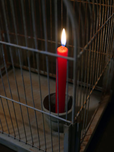 Burning Close-up Flame Illuminated Indoors  Lit Metal Night No People Red Lighted Candle Cage Hope Prison