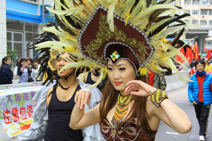 Arts Culture And Entertainment Carnival Carnival - Celebration Event Celebration Costume Cultures Dancer Dancing Day Enjoyment Feather  Front View Headdress Large Group Of People Leisure Activity Lifestyles Outdoors Performance Real People Stage Costume Togetherness Traditional Clothing Traditional Dancing Traditional Festival Young Adult