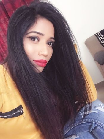 Black Hair Fashion Glamour Models Fashion Model Tanyasingh Tanya Singh Long Hair Elégance Beautiful Woman Casual Clothing Actress Modern Model Pink Lipstick  Looking At Camera Smiling Females Beauty #Tanya Singh Side View