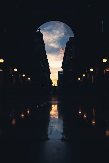 Galleria Vittorio Emanuele II Galleria Vittorio Emanuele Architecture Reflection Built Structure Building Exterior Water Sky City Silhouette Illuminated Cloud - Sky Outdoors Arch Dark Nature Transportation No People Street Waterfront Building