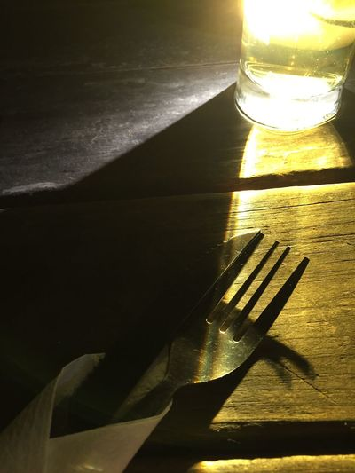 Light Through Glass Light Light And Shadow High Angle View Tranquility Unique Wood Night Lights Experimental Photography Cutlery Golden IPhoneography Outdoors No People No Edit/no Filter