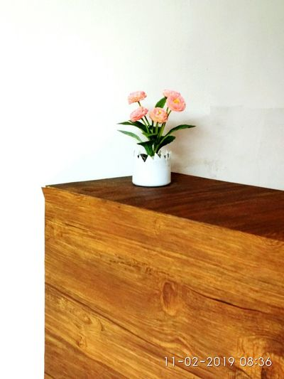 flower plastic in the pot on the table Nice Beautyful  Flower Pot Plastic Flower Plastic Pot Flower Flower Head Flower Bouquet Vase Wood - Material Close-up