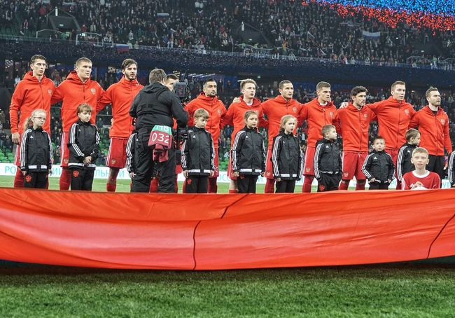 Red Uniform Competition Large Group Of People Sport Outdoors People Russian National Football Team Krasnodar Stadium