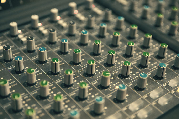 Technology Sound Recording Equipment Control Sound Mixer Audio Equipment Music Studio Selective Focus No People Recording Studio Equipment Communication Close-up Arts Culture And Entertainment Indoors  Connection Mixing Electrical Equipment