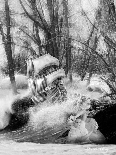 Anime alla deriva by ©Raffreefly Raffreefly Art Artedigitale Artemoderna ARTECONTEMPORANEA EyeEm Gallery Eyeemcommunity EyeEmdigital Blackandwhite SoulArt Tree Water Bare Tree