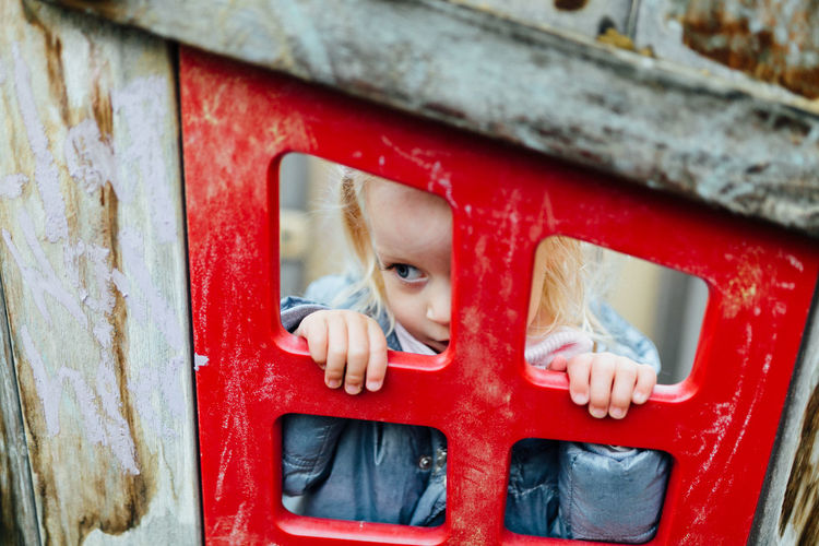 Child Childhood Offspring Young One Person Innocence Portrait Red Real People Peeking Day Headshot Cute Toddler  Window Babyhood Curiosity