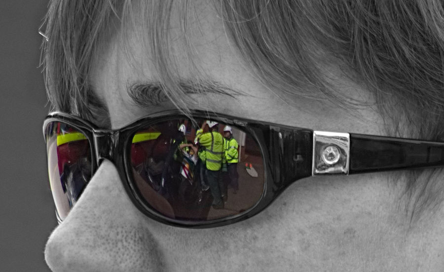 Ambulance Service Colour Pop Emergency Services Fire Service Firefighter Glasses Headshot Looking At Camera One Person Paramedic Reflection Reflection In Glasses Sunglasses Training