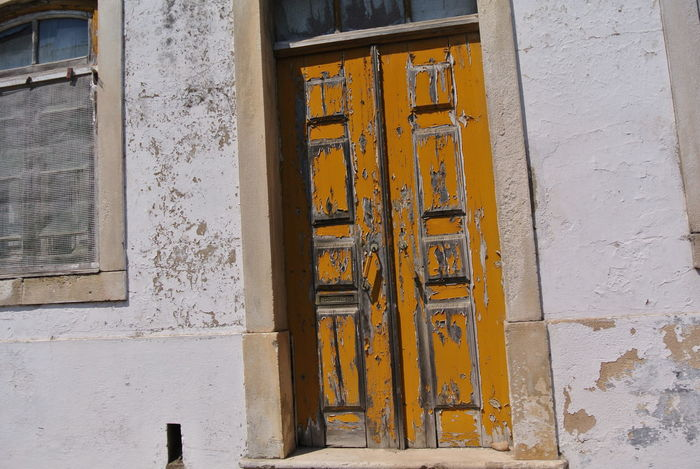 Alpiarça, Portugal Abandoned Bad Condition Closed Communication Damaged Deterioration Door Entrance Metal Obsolete Old Red Safety Text Wall Wall - Building Feature Western Script Wood