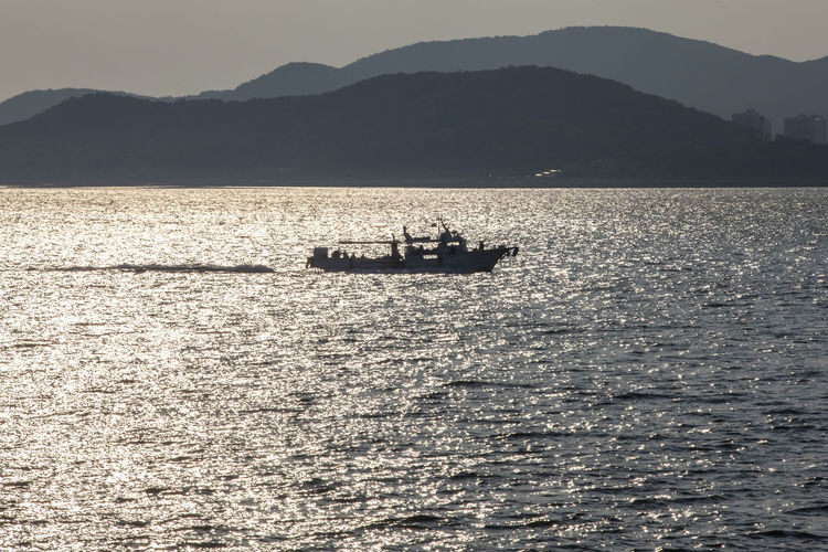 View Of Boat On Rippled Water Of Sea
