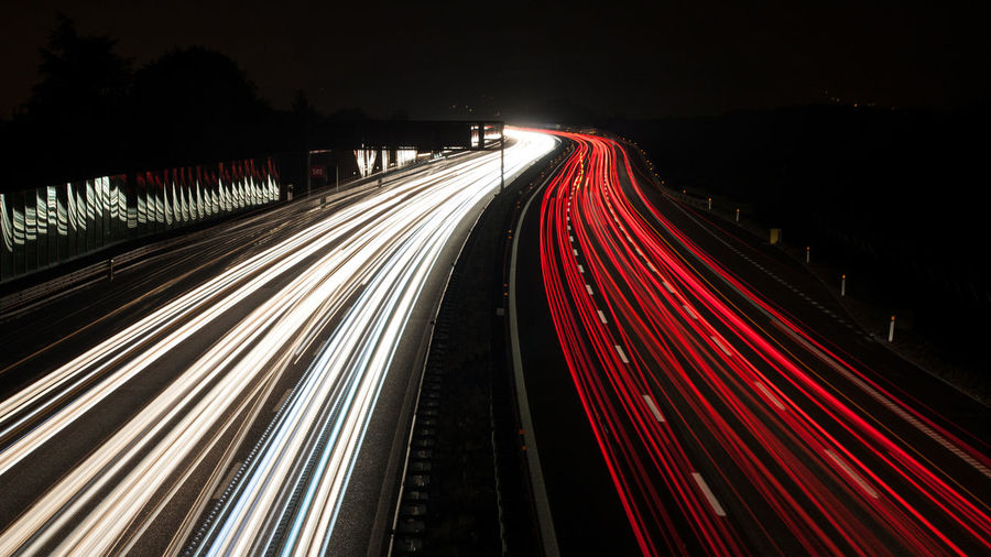 City Life Illuminated Light Trail Long Exposure Motion Night Red Road Speed Transportation