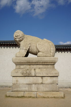 'Haechi' as Symbol of Seoul Gwanghwa-mun Haechi Korean Traditional Architecture Animal Representation Architecture Art And Craft Building Exterior Built Structure Cloud - Sky Day Gargoyle History No People Outdoors Sculpture Sky Statue