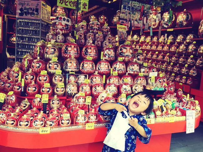 """だるまさんがころんだー"" Daruma Japanese Temple Boy Temple 甚平 Jinbei Festival Summer ☀ Followme Shopping ♡"