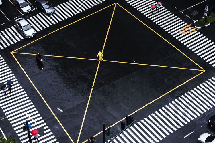 BGC BGC, Taguig High Angle View Neighborhood Map Road Marking Traffic Traffic Control Transportation Wet Road Yellow Raincoat