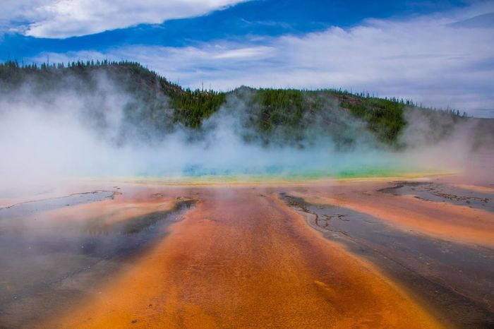 Beauty In Nature Blue Color Geology Geyser Grand Prismatic Spring Heat - Temperature Hot Spring Idyllic Landscape Morning Glory Mountain Nature Non-urban Scene Outdoors Physical Geography Power In Nature Rainbow Colors Scenics Sky The Way Forward Tranquil Scene Tranquility Travel Destinations Yellowstone