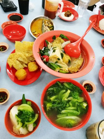 Yong tau foo Indoors  Food And Drink No People High Angle View Healthy Eating Bowl Vegetable Food Freshness Ready-to-eat Day Asianfood Taufu Taufupok Okra Beancurd Skin Beancurd Fishoftheday Visual Feast