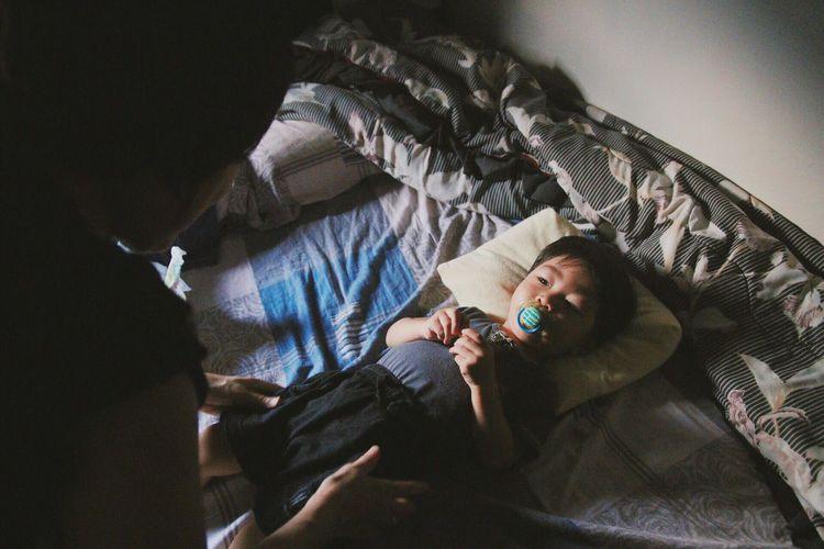 Baby Grandson Grandma Love Family Bed Lying Down Home