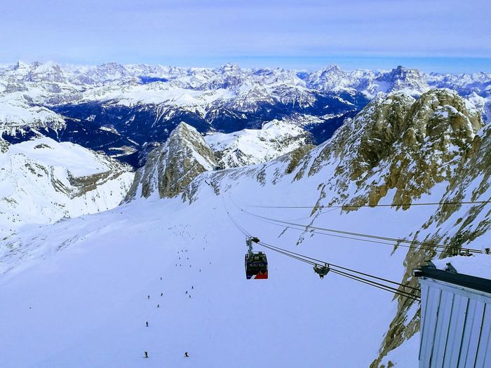 High Angle View Of Overhead Cable Car Against Snowcapped Mountains