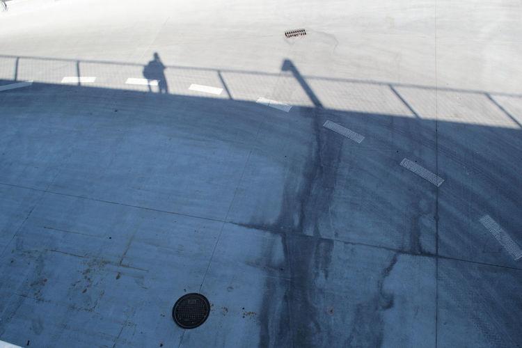 High angle view of shadow at skateboard park