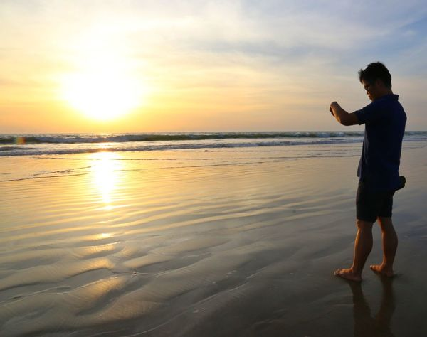 Costa Ballena Sunset Beach Water Sea Reflection Sunlight Sky Sun Nature Sand Silhouette Adult One Person Standing Only Men