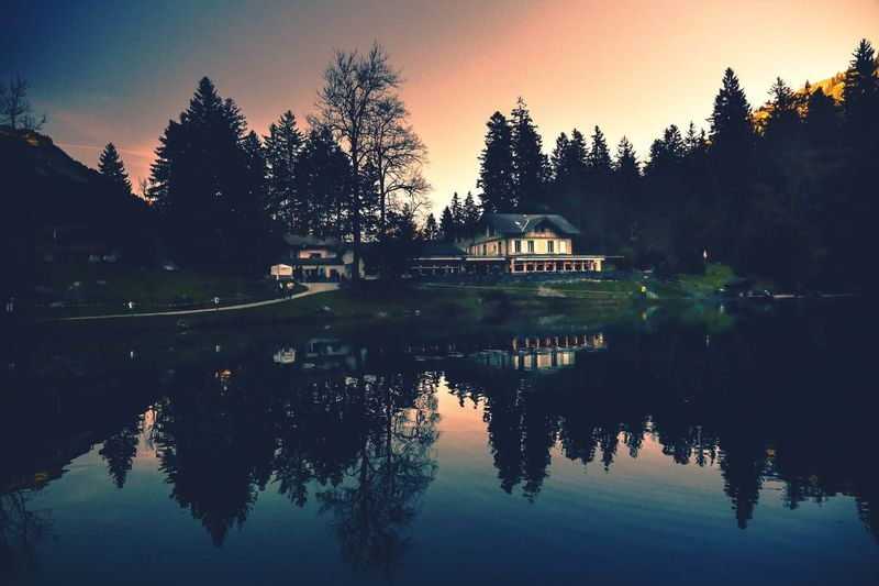 Blausee un lago de fantasía! EyeEm Selects Tree Reflection Silhouette Sunset Lake Outdoors Day Tranquility Sky Beauty In Nature first eyeem photo Capture Tomorrow