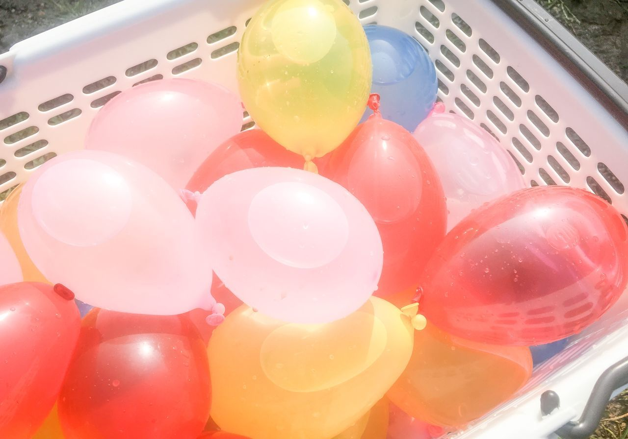 balloon, multi colored, celebration, no people, red, helium balloon, day, close-up, indoors