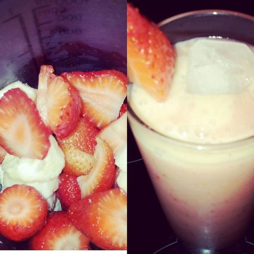 Did Some  Smootie For breakfastsoharteverythingremindingmeofusodeliciousgooddaynewdaytakeoftochangemylifebiaatchtakecareofuhealthyfooddrinkicestrawberrybananababy♥