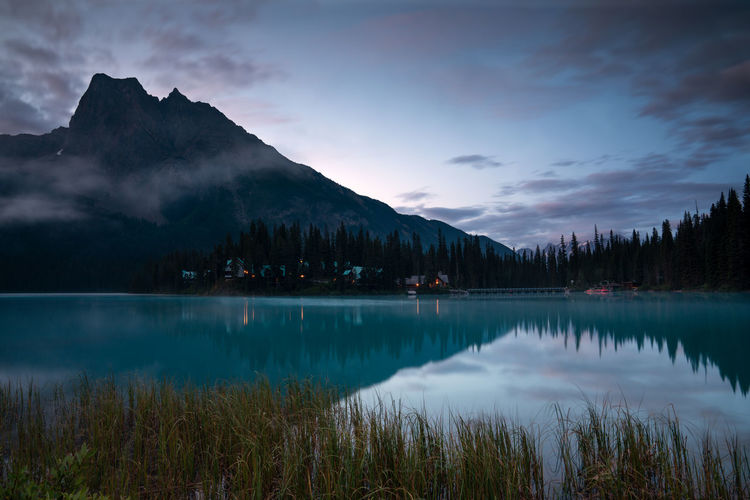 Panoramic image of emerald lake, beautiful landscape of yoho national park, british columbia, canada
