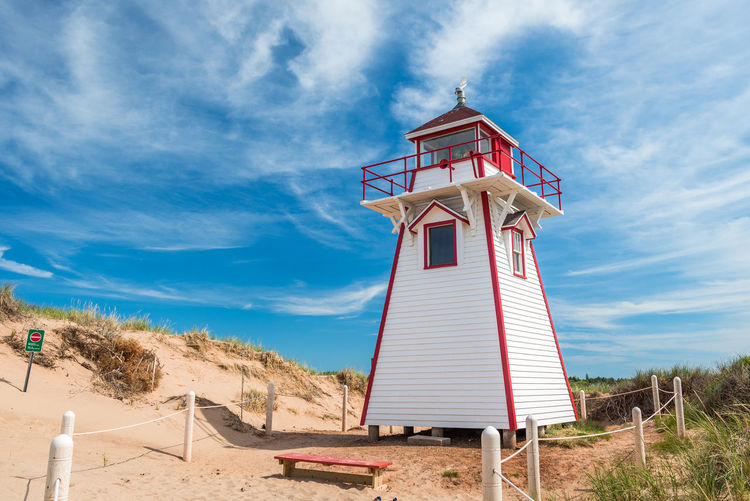 Canada Photos Architecture Beach Blue Building Exterior Built Structure Cloud - Sky Coverheads Day Environment Field Land Landscape Lighthouse Nature Outdoors Places To Visit Plant Prince Edward Island Sand Security Sky Sunlight Tower Tranquility