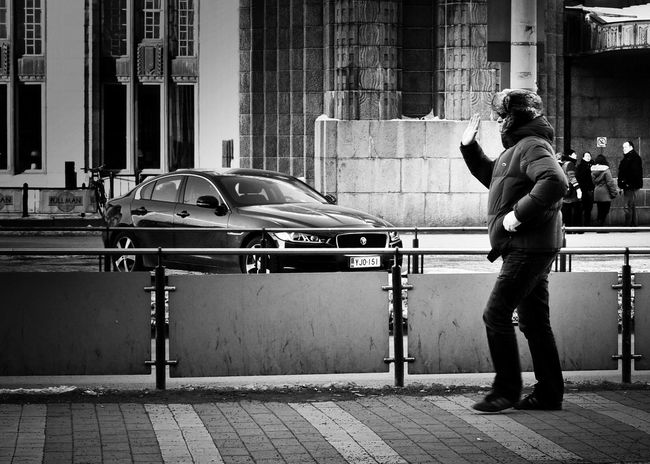 Hello automobile Streetphoto_bw Streetphotography Real People Built Structure One Person Building Exterior Architecture Standing Outdoors Car Men Only Men