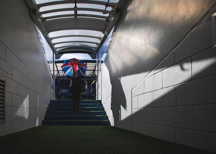 Manwiththeunionjackumbrella in the Chelsea players tunnel Architecture Urbanphotography Urban City London Football Stadium