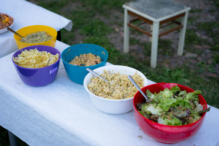 Close-up of food in bowl at a garden party