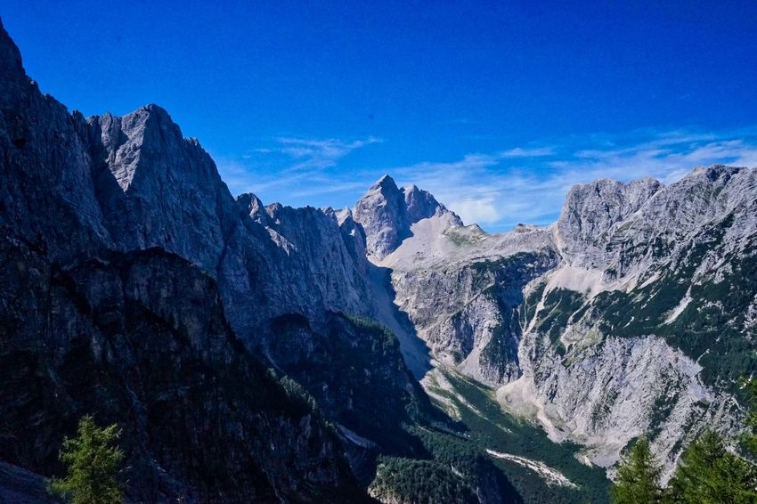 High peaks in the Slovenian alps Slovenia Alps Beauty In Nature Blue Day High Peaks Mountain Mountain Range Mountains Nature No People Outdoors Sky Slovenian Alps