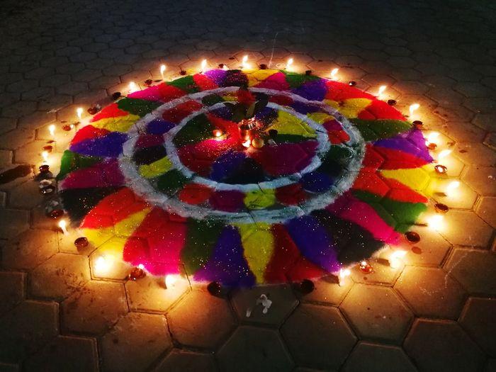 Illuminated Night Celebration Multi Colored Flame Diwali No People Outdoors Tihar Festival Of Light And Colour Hindu Culture Hinduism Diya - Oil Lamp Hindu Festival Tihar Ko Ramjham! Traditional Festival Diwali Burning Flame