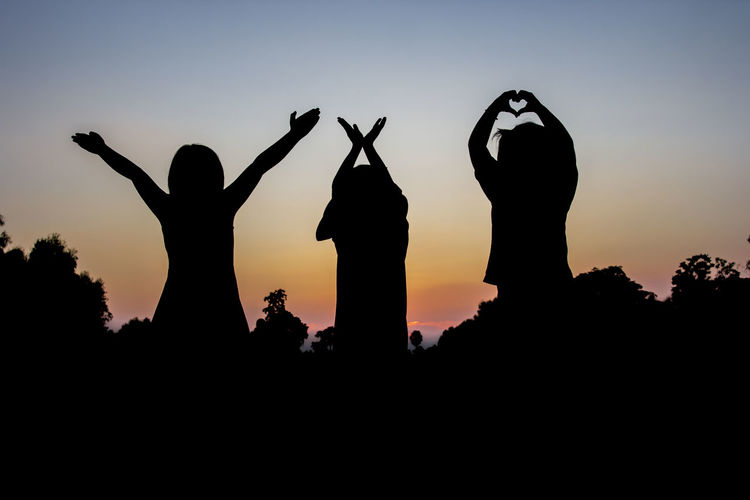 Arms Raised Clear Sky Copy Space Emotion Fun Human Arm Leisure Activity Lifestyles Men Nature Outdoors People Positive Emotion Real People Silhouette Sky Standing Sunset Togetherness Two People