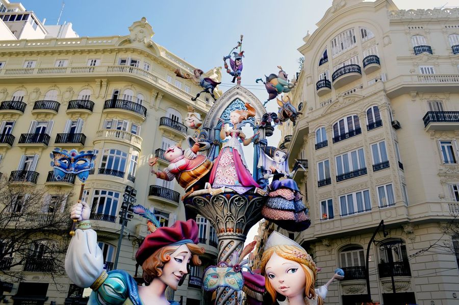 Spaın València Valencia, Spain Vacation Travel Destinations Architecture Fallas Building Exterior Sky Day Travel Mediterranean  Spanish Floats Statue Outdoors Religion Spirituality Large Group Of People People European  Yellow Celebration Event Adults Only Crowd