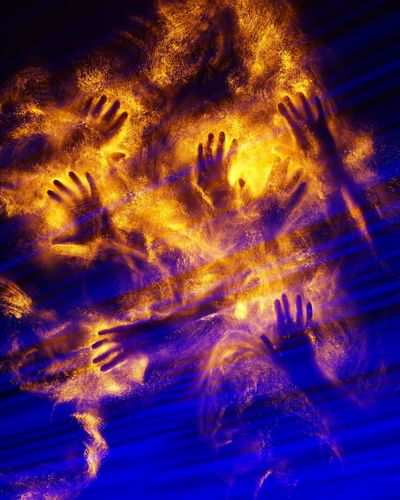 Burning Fire Heat Orange Blue Cold Abstract Hands Astronomy Blue Abstract Illuminated Futuristic Ink Close-up Light Painting Light Trail Long Exposure