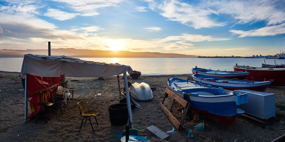 Sunrise in Messina Sicily Beach Beauty In Nature Cloud - Sky Day Horizon Over Water Italy Moored Nature Nautical Vessel No People Outdoors Sand Scenics Sea Sky Sunset Tranquil Scene Tranquility Water