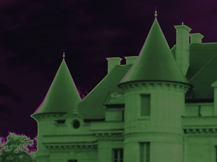 Roofs atmosphere Purple Sky Castle Part Black Sky Night Atmosphere Scary Frontage Part Roofs Green Chimneys Effects & Filters Architecture Building Exterior Close-up